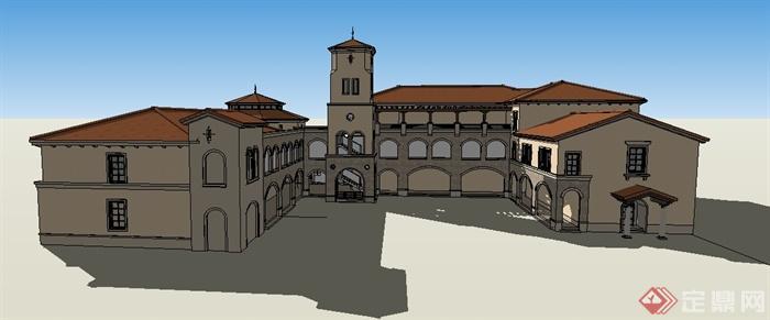 某欧式风格幼儿园学校建筑设计su模型