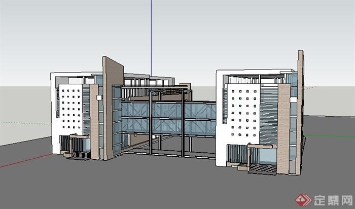某中小学教学建筑设计su模型素材