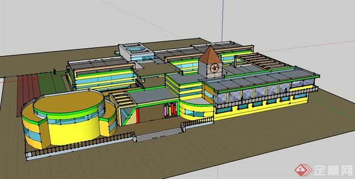 一所幼儿园建筑设计su模型,建筑设计规模较大,布局复杂,造型独特