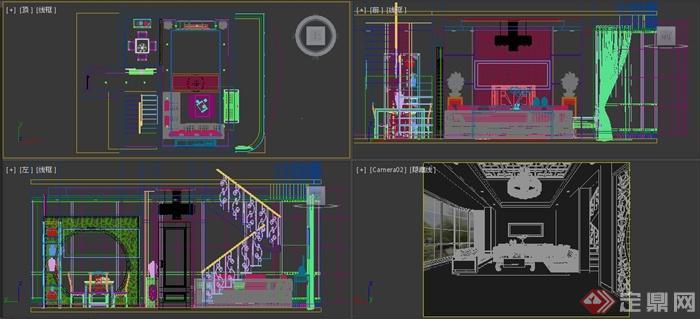 某别墅新中式客厅 茶室装修设计3DMAX模型