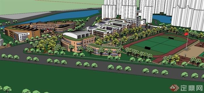 现代某大学校园景观设计SU模型,该模型设计内容丰富,有教学楼,综合楼,运动馆,红旗、运动场、植物、小品、植物景观等,模型制作细致,设计认真,可以供广大建筑设计和景观设计爱好者使用,也可用作同类项目参考使用。
