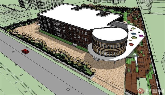 某现代幼儿园学校建筑设计su模型(含校园景观)
