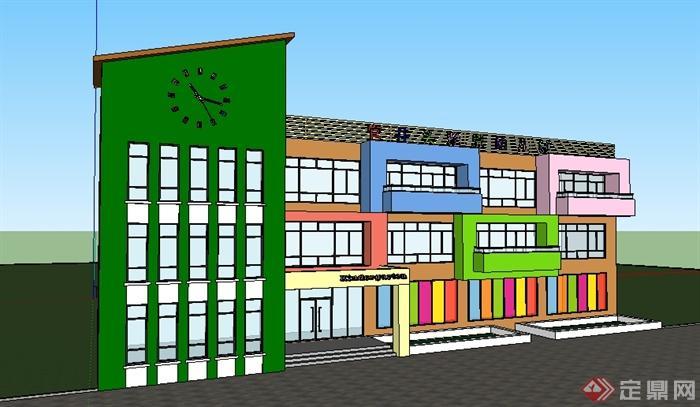 某现代雅思幼儿园学校建筑设计SU模型,模型设计整体美观大方,细节处理较好,材质处理得当,建筑色彩斑斓,让孩子们在一个梦幻、美丽的童话般的乐园生活学习。