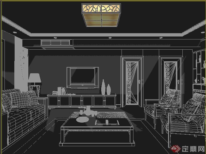 某新中式客厅室内装修设计方案3dmax模型