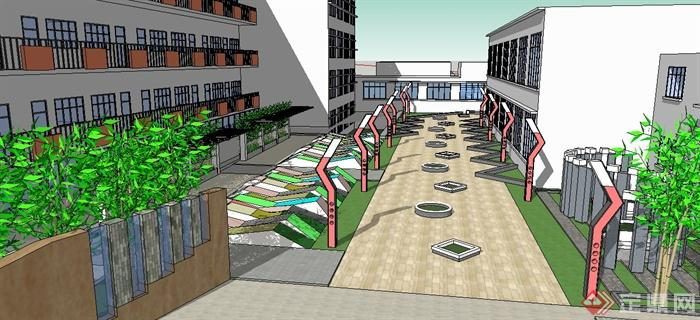某中学小学学校建筑景观设计su模型(1)