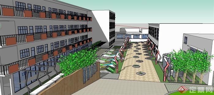 某中学小学学校建筑景观设计su模型(2)