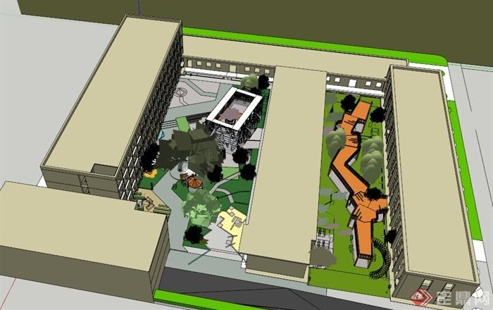 某校园教学楼周边景观设计su模型(1)