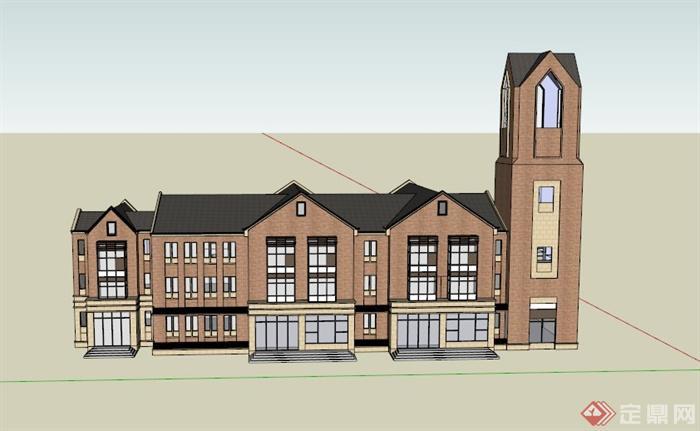 某欧式多层幼儿园建筑设计su模型