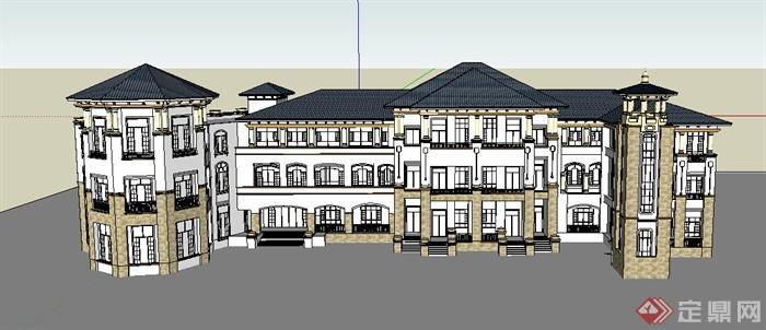 新古典风格幼儿园学校建筑设计su模型