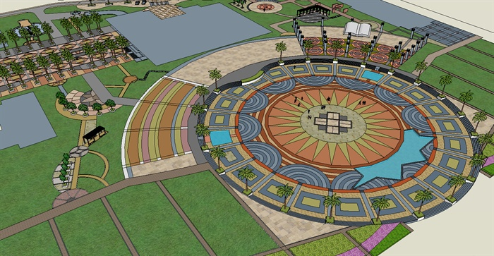 某东南亚广场景观规划设计SU模型模型