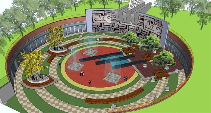 某中式风格圆形小广场景观设计su模型图片
