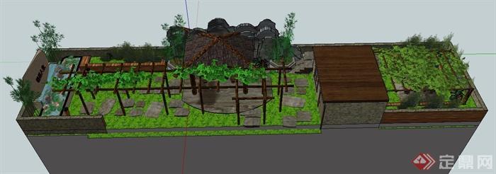 某中式屋顶花园景观设计su模型