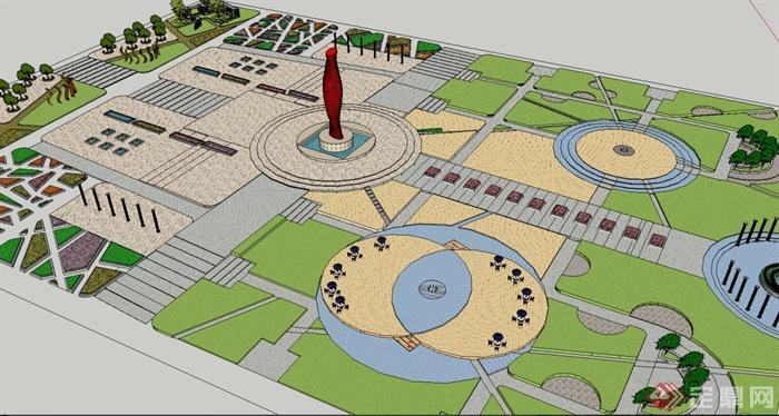 某欧式广场景观设计是su模型[原创]图片