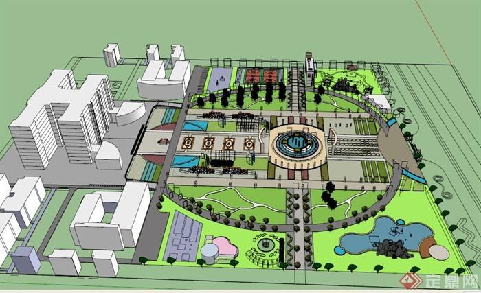 某现代中式校园广场景观设计su模型[原创]