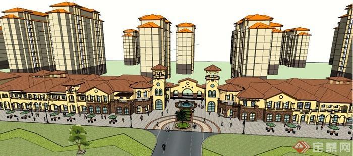某欧式加州小镇别墅住宅建筑设计su模型