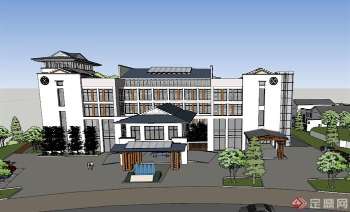 某中式山地酒店别墅会所建筑设计su模型