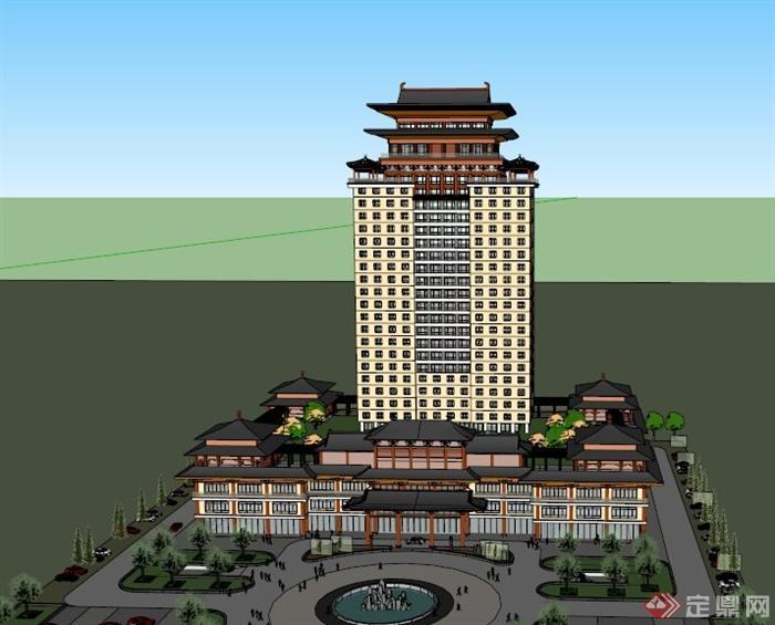 某古典中式与现代结合酒店建筑设计su模型(1)