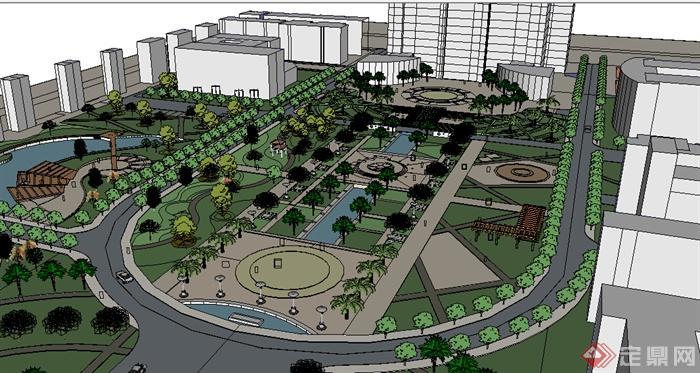 某大型城市广场设计su模型参考