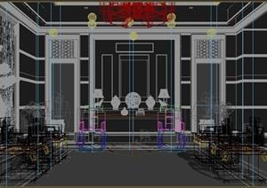 某古典中式风格客厅装修设计3DMAX模型