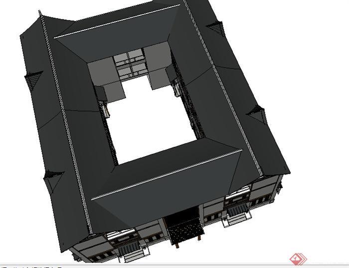 某现代中式四合院建筑设计su模型素材