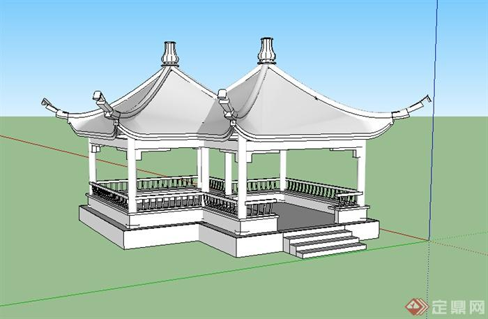 某中式古建双亭设计su模型