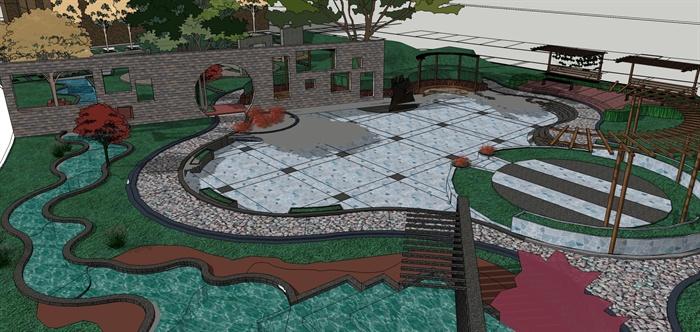某现代风格小游园景观设计SU模型图片