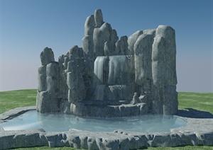 某园林中式假山设计3DMAX模型