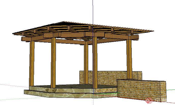 现代风格木结构廊架景观设计su模型
