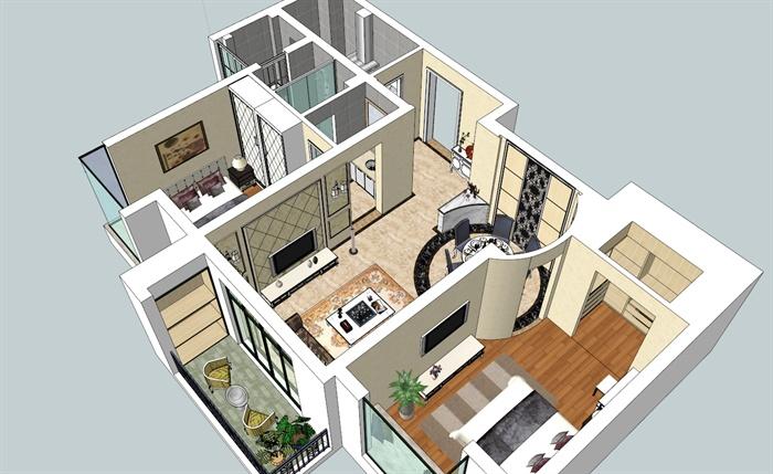 現代風格住宅室內裝飾設計su模型