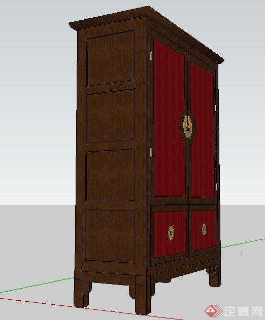 某中式风格衣柜su模型