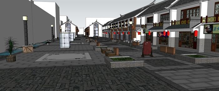 某一中式古街su模型psd彩色平面图