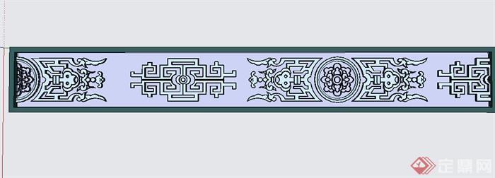 某中式花纹窗花设计su模型(1)
