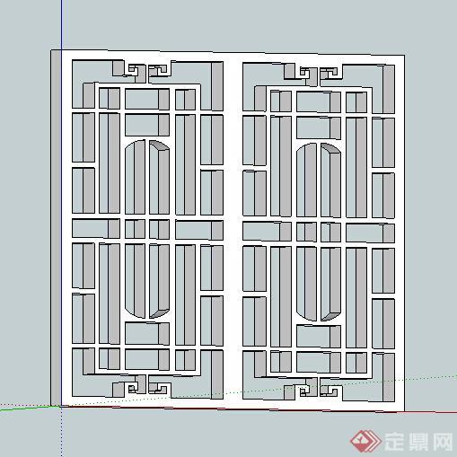 一款现代中式风格窗花格设计su模型