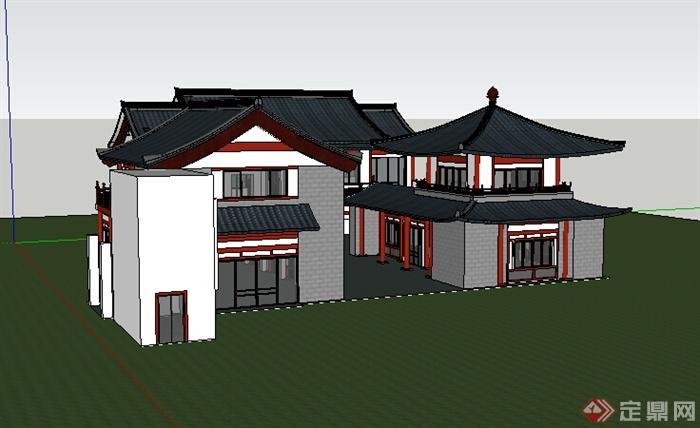 现代中式风格多层商业建筑设计su模型