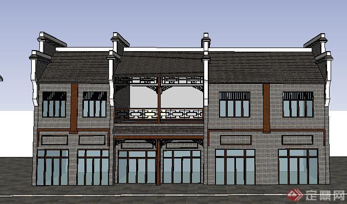 现代中式风格两层商住店铺建筑设计su模型(2)