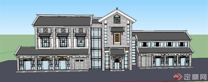 现代中式风格商业街商业店铺建筑设计su模型
