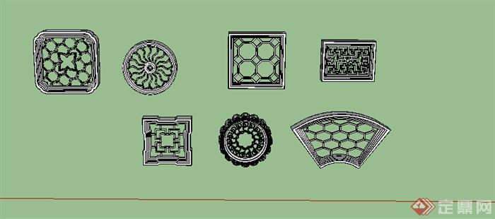 古典中式风格多个漏窗窗花设计su模型(1)