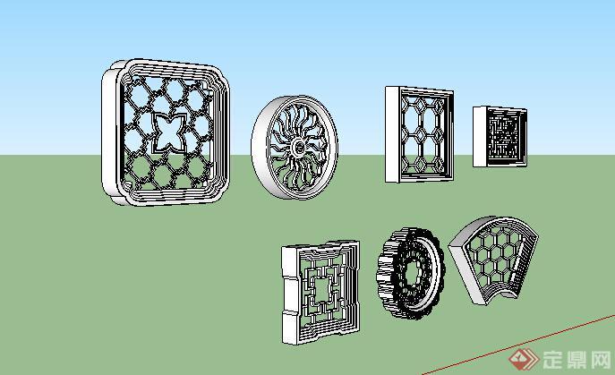 古典中式风格多个漏窗窗花设计su模型(2)