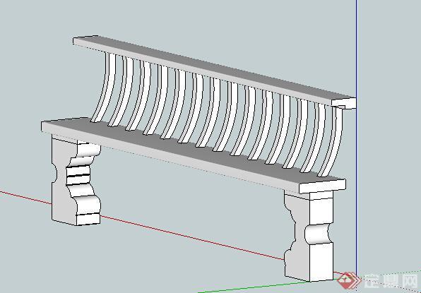 某现代中式风格石凳座椅设计su模型