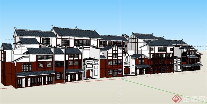 某中式特色商业建筑su模型参考(1)图片
