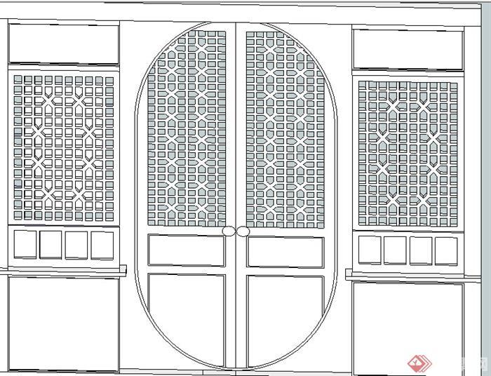 某中式窗花设计su模型参考
