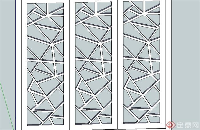 某建筑节点窗花设计su模型(1)