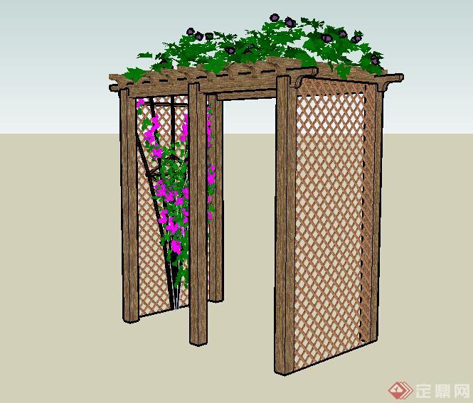 某木质小花架设计su模型素材
