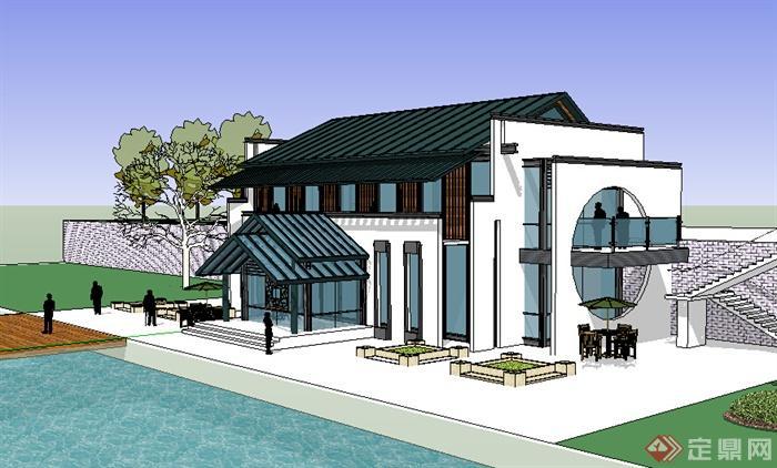 现代中式风格两层会所建筑设计su模型