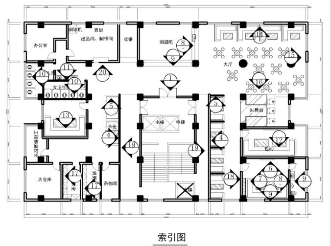 某酒吧优秀毕业设计cad施工图3d效果图(源文件)展板