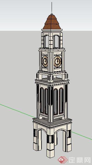 两座钟楼塔楼su模型