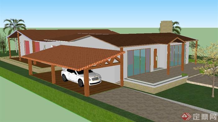 某小型别墅建筑设计SU模型 含庭院