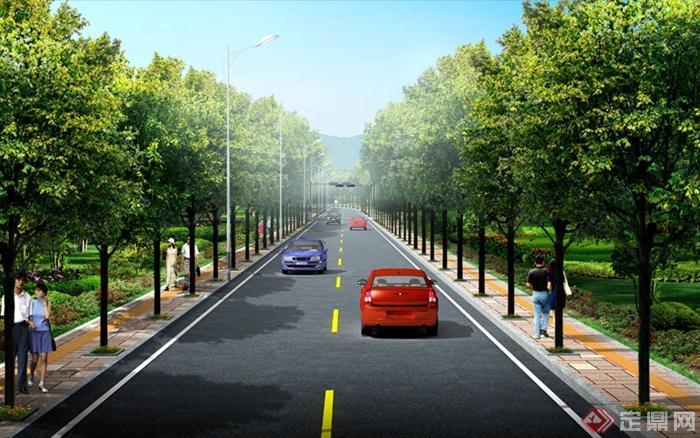 某现代一板两带式道路绿化设计效果图psd格式