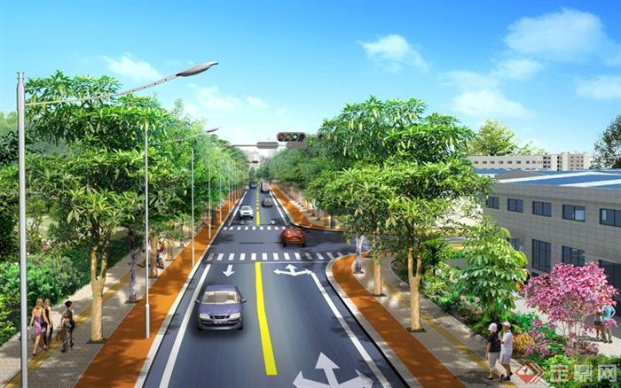 某t字路口道路绿化设计psd效果图