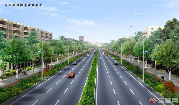 某地两板三带式道路绿化设计效果图psd格式